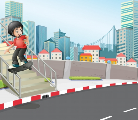 Illustration of a boy skateboarding at the street near the stairs Vector