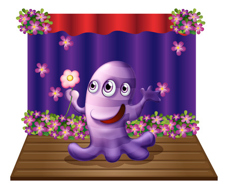 stageplay: Illustration of a three-eyed purple monster at the center of the stage on a white background