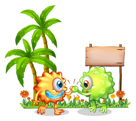 Illustration of the monsters near the wooden signboard on a white background