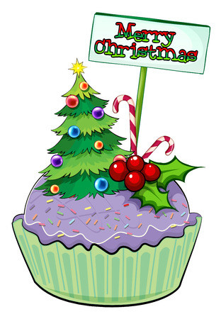 Illustration of a cupcake with a christmas tree and a card on a white background Vector