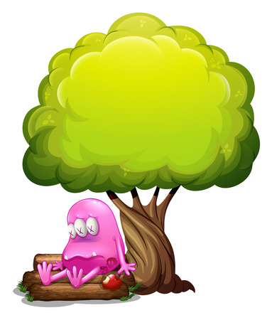 poisoned: Illustration of a poisoned monster sitting above the log under the tree on a white background