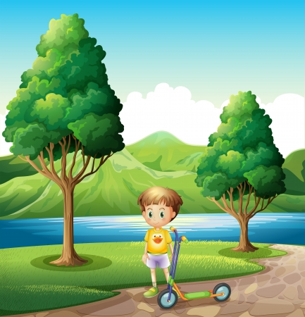 Illustration of a young boy with a scooter standing near the river Vector
