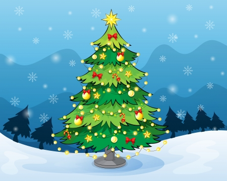 Illustration of a christmas tree in the middle of the snowy land Vector