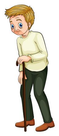 abuelo: Ilustración de un anciano caminando con un bastón sobre un fondo blanco