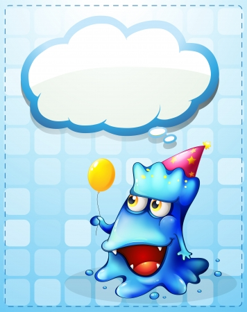 Illustration of a happy blue monster with an empty cloud callout Vector