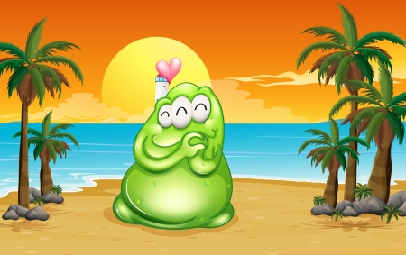 inlove: Illustration of a beach with a green monster