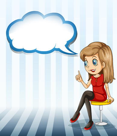 Illustration of a pretty lady sitting with an empty callout on a white background Vector