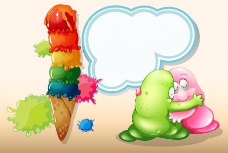thinking bubble: Illustration of a giant icecream beside the two monsters hugging