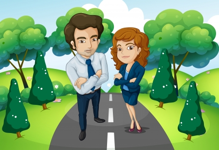 roadtrip: Illustration of a male and a female standing in the middle of the road