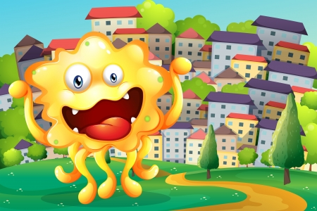 hilltop: Illustration of a hilltop across the tall buildings with a happy yellow monster
