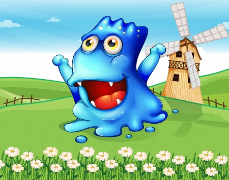 Illustration of a happy blue monster at the hiltop with a windmill Vector