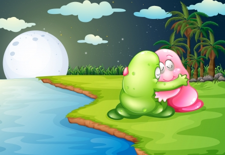 Illustration of a green monster comforting the pink monster at the riverbank Vector
