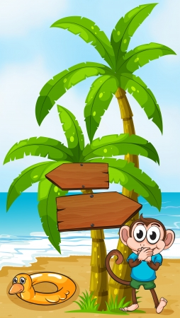 Illustration of a monkey at the beach with a toy standing near the palm tree Vector