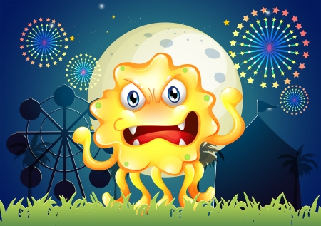 Illustration of a carnival with a scary yellow monster Vector