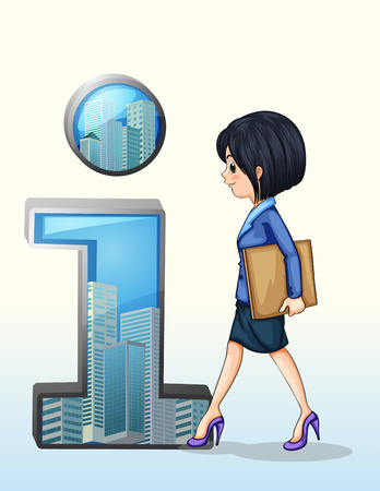 towards: Illustration of a lady walking towards the number one symbol on a white background