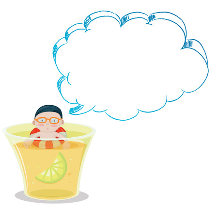 callout: Illustration of a big glass with a young boy swimming on a white background Illustration