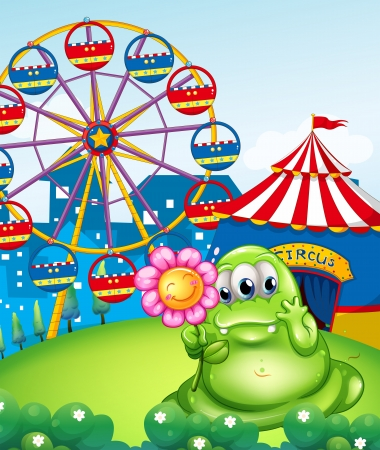 Illustration of a monster holding a pink flower in front of the carnival Vector