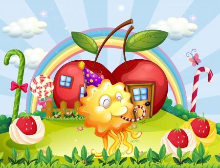 casita de dulces: Ilustración de las casas de la manzana en la cima de una colina en la parte trasera del monstruo juguetón Vectores
