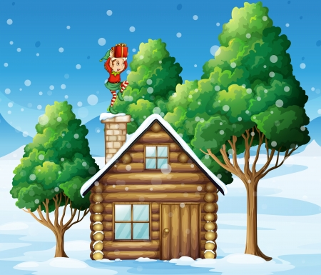 Illustration of an elf Santa with a gift above his head standing near the rooftop Vector