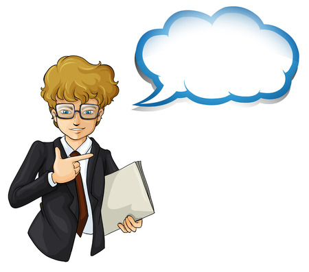 Illustration of a handsome businessman with an empty cloud template on a white background Vector