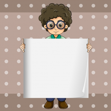 empty frame: Illustration of a curly young man holding an empty signage Illustration