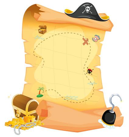 mapa del tesoro: Ilustración de un mapa del tesoro marrón sobre un fondo blanco