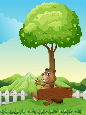 hillside: Illustration of a hilltop with a beaver holding a wooden signboard