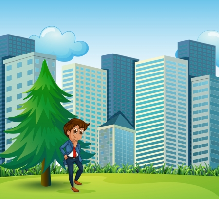 Illustration of a businessman beside the pine tree near the tall buildings Stock Vector - 22575927
