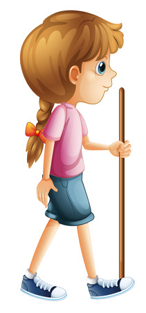 braid: Illustration of a young lady hiking with a stick on a white background Illustration