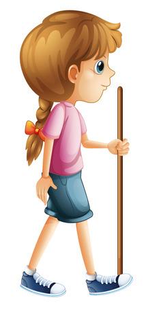 aventurero: Ilustraci�n de una mujer joven senderismo con un palo sobre un fondo blanco