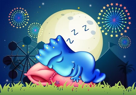 Illustration of a monster sleeping above the pillow at the amusement park Illustration