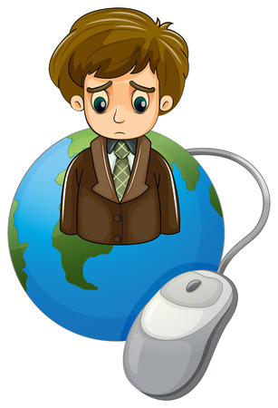 frowning: Illustration of a globe with a frowning businessman and a mouse on a white background