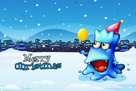 Illustration of a christmas card template with a happy blue monster Vector