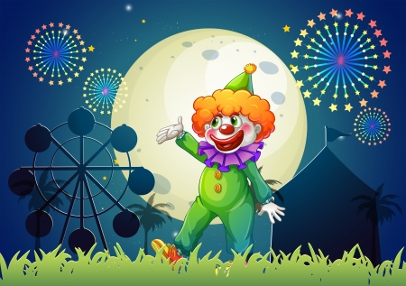 Illustration of a carnival with a funny clown Vector