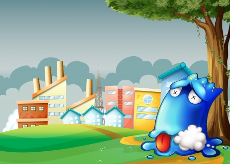 poisoned: Illustration of a poisoned blue monster resting under the tree across the buildings Illustration