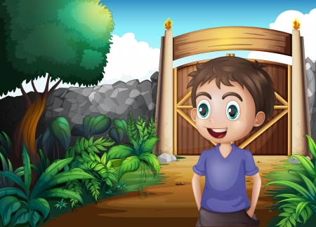 gated: Illustration of a young gentleman inside the gated yard