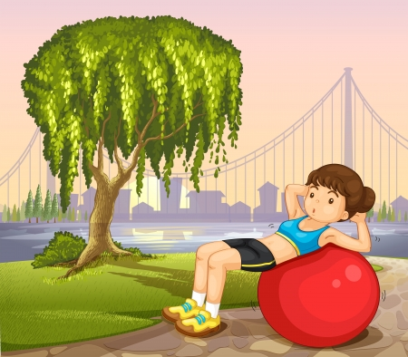 Illustration of a girl exercising near the river