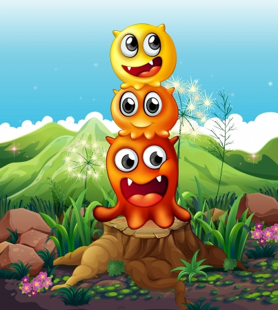 Illustration of the three playful monsters above a stump