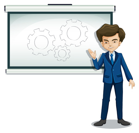 formal attire: Illustration of a man discussing the drawing in the bulletin board on a white background