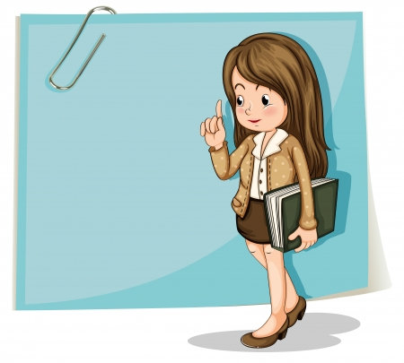paperclip: Illustration of a lady with a binder walking in front of the big empty paper on a white background