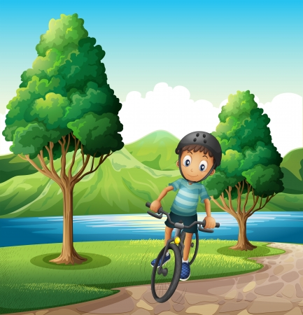 cartoon biker: Illustration of a male biker biking near the river Illustration