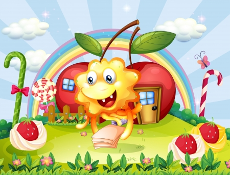 Illustration of a happy monster at the hilltop with giant lollipops and apple houses Vector