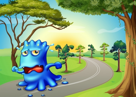 escape route: Illustration of a monster running so fast at the road Illustration