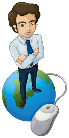 tall man: Illustration of a tall man above the globe with a computer mouse on a white background Illustration