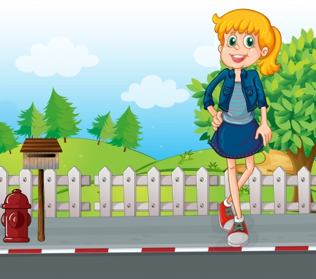 Illustration of a tall young woman at the street standing near the mailbox Vector
