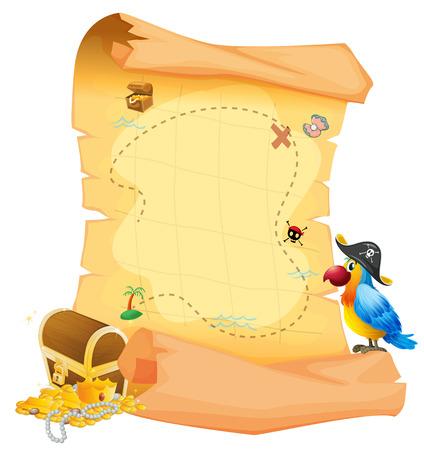 Illustratie van een schatkaart met een papegaai op een witte achtergrond