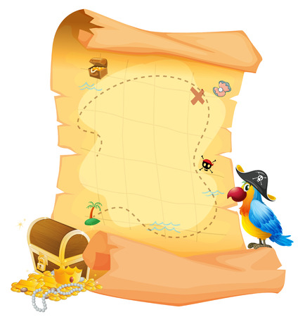 Illustration of a treasure map with a parrot on a white background Çizim