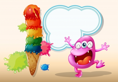 beanie: Illustration of a happy pink beanie monster near the giant icecream