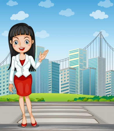 Illustration of a pretty woman presenting the tall buildings Vector