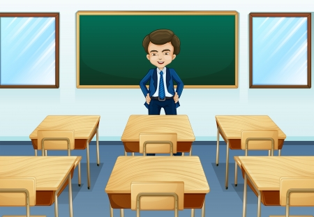 Illustration of a teacher inside the room Vector